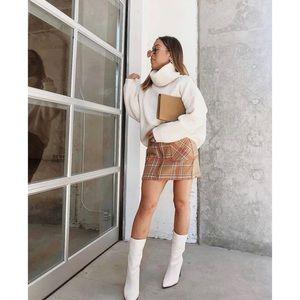 Burkeshire Light Brown Plaid Flannel Mini Skirt